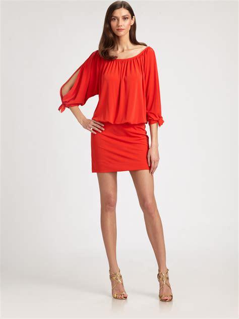 Nicoles Dress by Miller Blouson Dress In Orange Coral Lyst