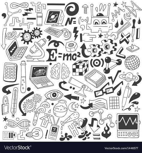 doodle login science science doodles collection royalty free vector image