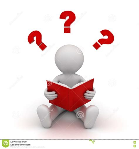Or Question Book 3d Sitting And Thinking With Question White Royalty Free Stock Image