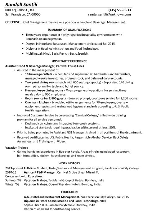 resume format hotel management resume sle hotel management trainee
