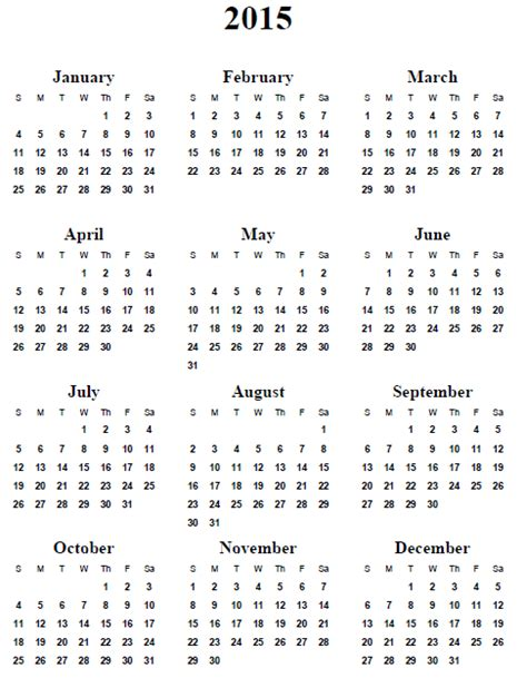 Printable Free Yearly Calendar 2015 | 7 best images of annual calendar 2015 printable 2015