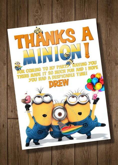 printable minion thank you cards despicable me thank you card to match despicable me
