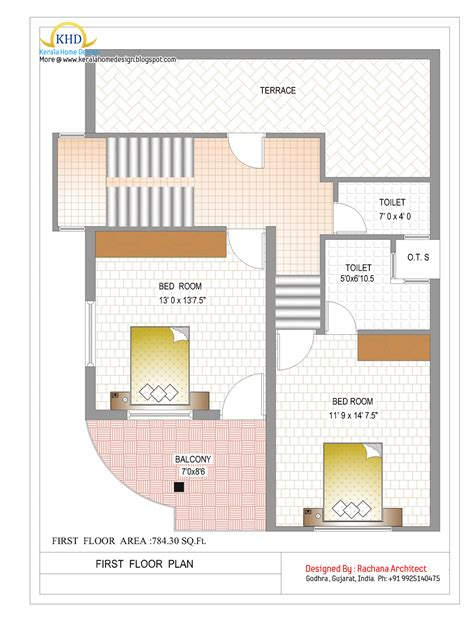 area of a floor plan double story house plan floor area 784 square feet