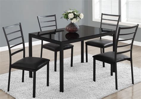 metal dining room sets black metal 5 piece rectangular dining room set 1025 monarch