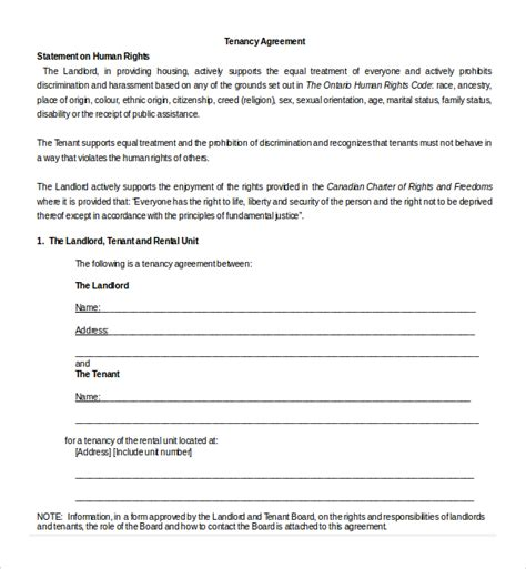 tenancy agreement contract template sle tenancy agreement template 9 free documents in