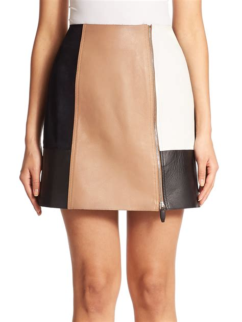 wang colorblock leather mini skirt lyst