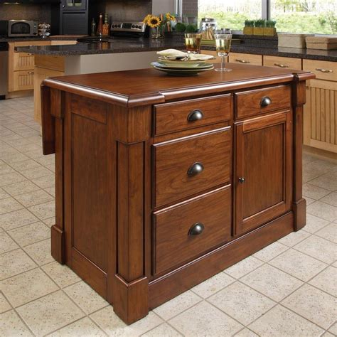 shop home styles brown midcentury kitchen island at lowes