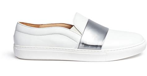 xu shoes xu tribeca mirror leather band skate slip ons in