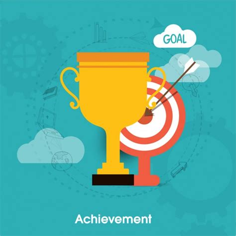 achievement background with trophy and dartboard vector premium
