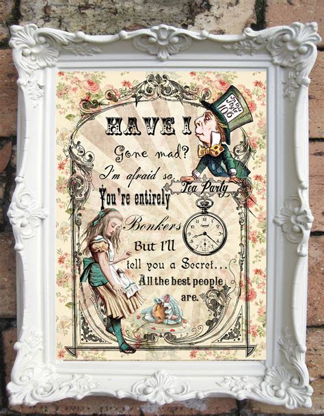 Alice In Wonderland Printable Decorations by Alice In Wonderland Art Print Alice In Wonderland Decor