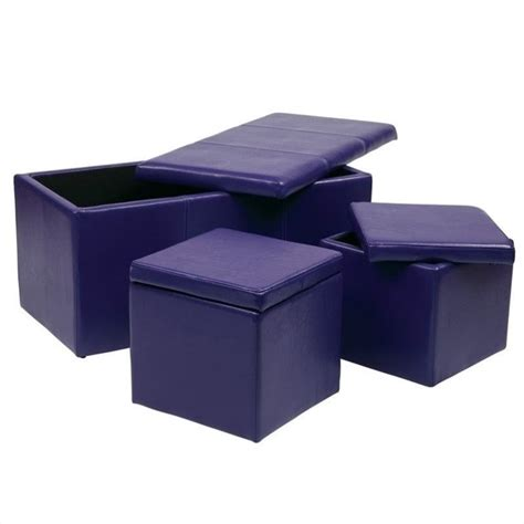 Office Star Metro 3 Pc Vinyl Set Purple Ottoman Ebay Storage Ottoman Purple