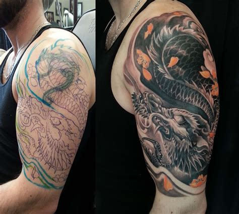 tattoo black and grey with colour half sleeve black and grey colour dragon cover up tattoo