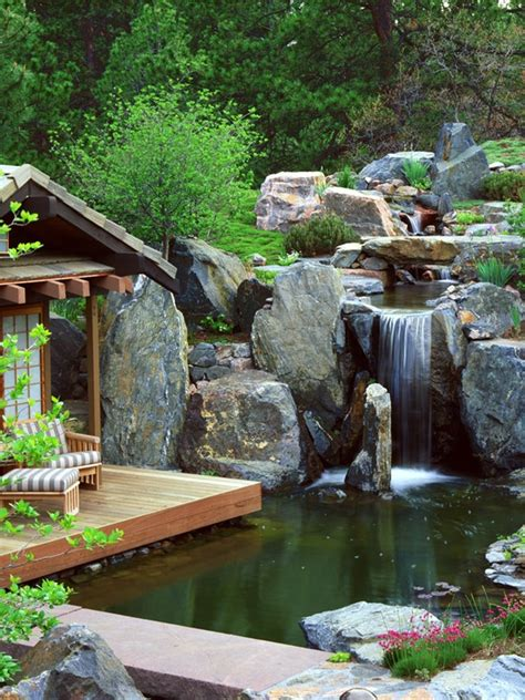 outdoor gardening gorgeous waterfall design for relaxing backyard decoration with nice rock