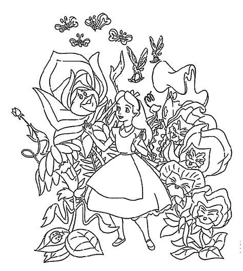 printable alice in wonderland flowers alice in wonderland coloring pages flowers for kids