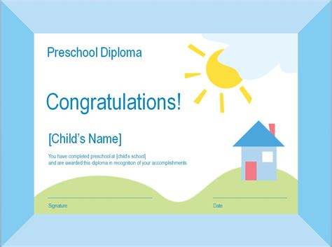 preschool graduation diploma template preschool graduation diploma template pdf happy memorial