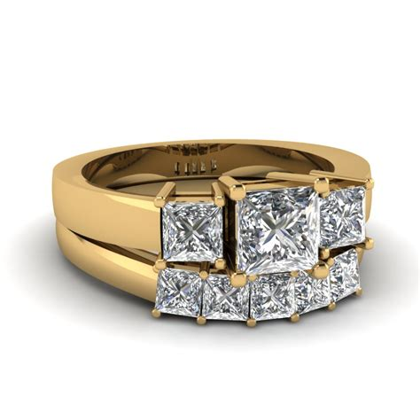 2 5 ct princess cut wedding ring sets in 14k