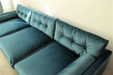 sofa down cushions harvey probber tuxedo sofa in peacock velvet with down