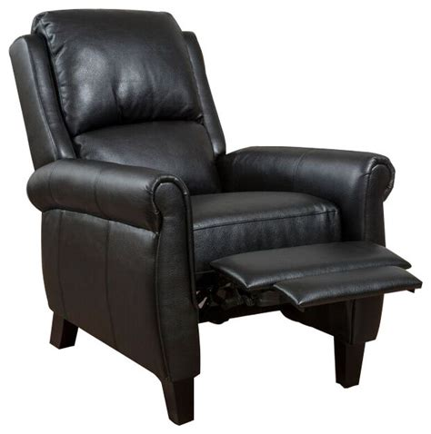leather recliner chairs shop houzz gdfstudio lloyd black leather recliner club