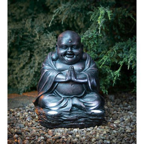 Laughing Buddha With Solar Light Garden Decorations Buddha Solar Light