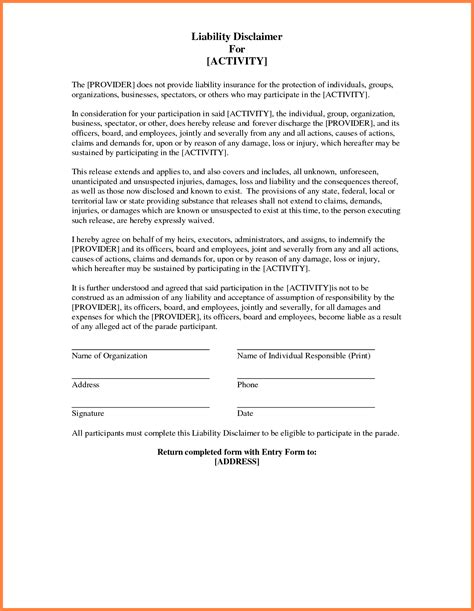 Product Liability Disclaimer Template by Certificate Participation Template Sle Templates