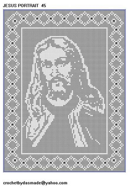 Filet Crochet Patterns For Home Decor Item 45 Jesus Portrait Filet Crochet Doily Afghan Pattern Tablecloth Crochetbydasmade
