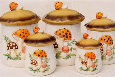 vintage ceramic kitchen canister set 2 1960 s handled sears merry mushroom ceramic canisters complete set retro