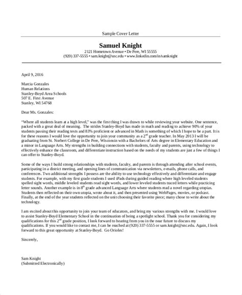 Cover Letter For Teaching Doc Sle Cover Letter 15 Free Documents In Pdf Doc