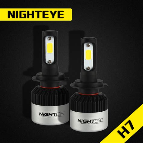 Nighteye Lu Mobil Led Cob 2pcs nighteye 9000lm h7 led headlight kit car driving fog replace halogen bulb l ebay