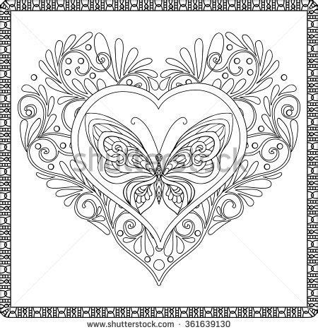 butterfly heart coloring pages love heart with butterfly coloring book for adult and