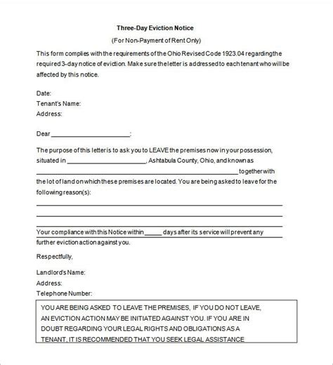eviction notice templates google docs ms word