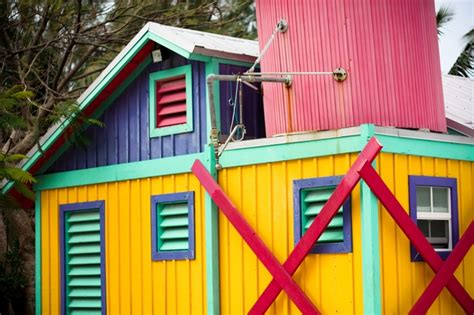 Colourful Sheds by Brightly Colored Building In Bahamas Beautiful And
