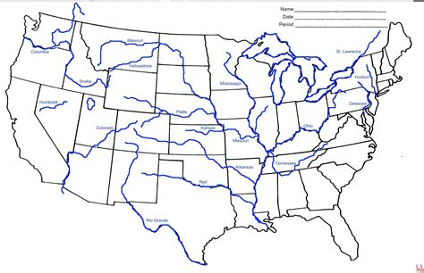 printable map of the united states with major cities blank outline map of the united states with rivers