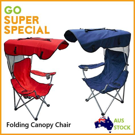 chair with shade cover new sun cing folding chair w shade canopy ebay