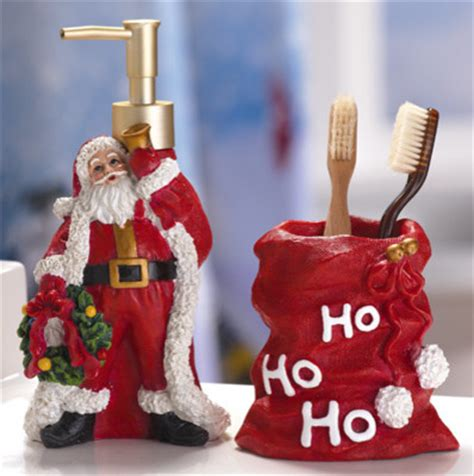 santa claus holiday bathroom accessory set traditional