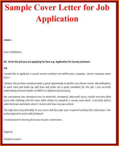 Cover Letter Sles For Applications by 8 Cover Letter Sle For Application Basic Appication Letter