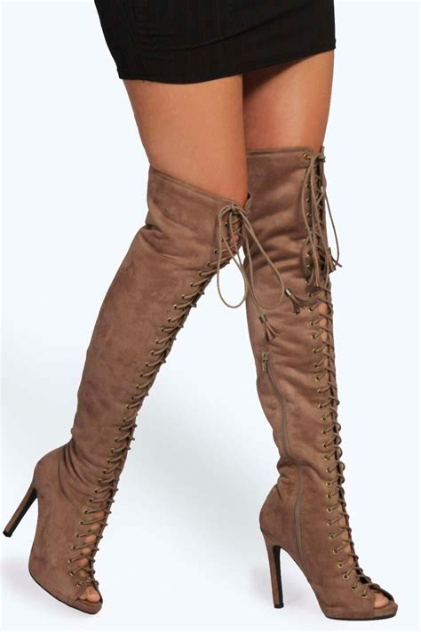 the knee peep toe boots boohoo womens lace up knee high peep toe boots ebay