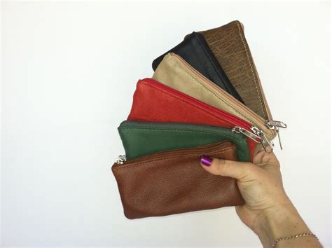 Handmade Pouch - small leather pouch purse mini cosmetic bag or coin bag