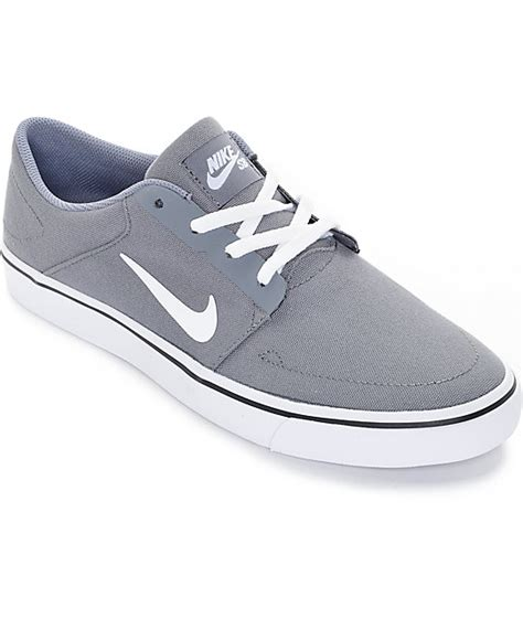 nike sb portmore cool grey white canvas skate shoes zumiez