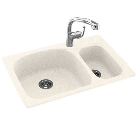 undermount kitchen sink with faucet holes swan dual drop in undermount granite composite 33 in 1 bowl kitchen sink with