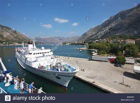 kotor cruise port cruise ship kotor port montenegro stock photo royalty