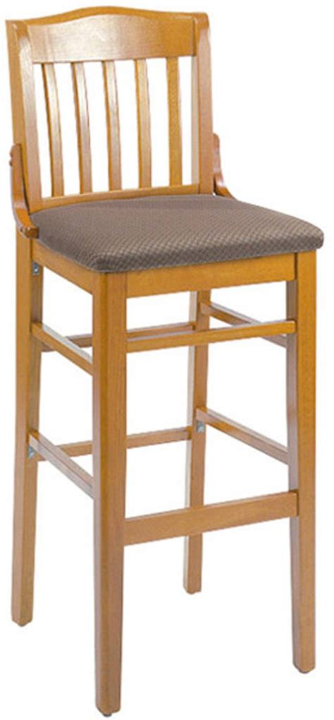 school house wood bar stool with upholstered seat