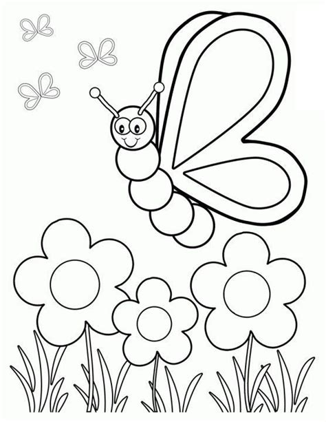 easy spring coloring pages easy spring coloring pages for kids color bros