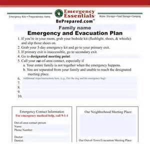 daycare emergency preparedness plan template family emergency and evacuation plan printable my
