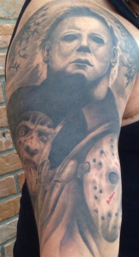 horror movie tattoos designs grey ink fredy jason and horror on half sleeve