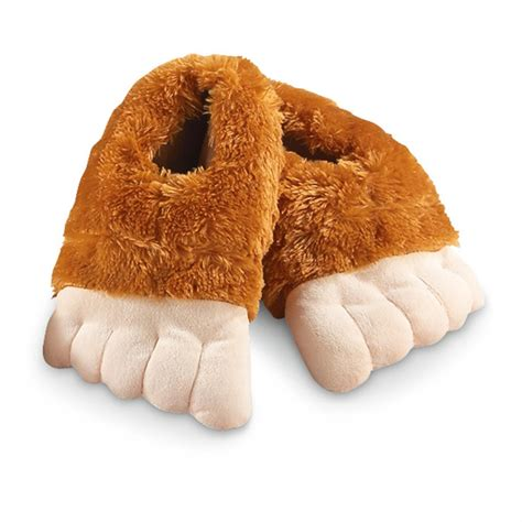furry house shoes furry bigfoot slippers 617842 gag unique gifts at sportsman s guide