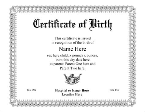 birth certificate template 31 free word pdf psd