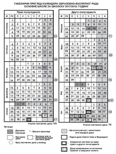 Verski Kalendar 2018 школски календар за школску 2017 2018 годину ош Quot браћа