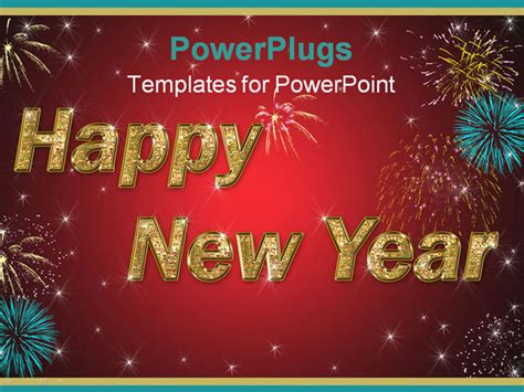 new year slide template happy new year golden text on background with