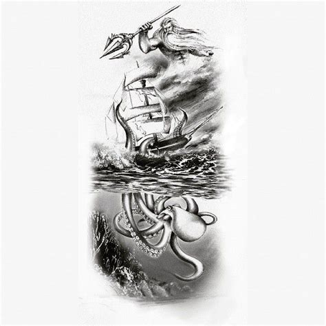 poseidon tattoo design image result for kraken and ship jakes tats