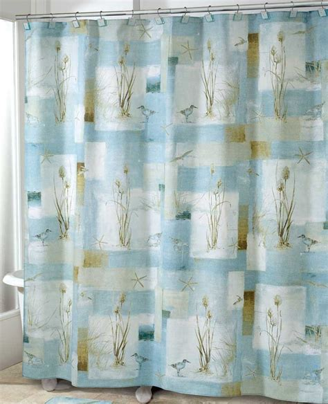 Beachy Curtains Designs Blue Waters Shower Curtain Nautical Decor Sandpiper Shower Curtain Ebay
